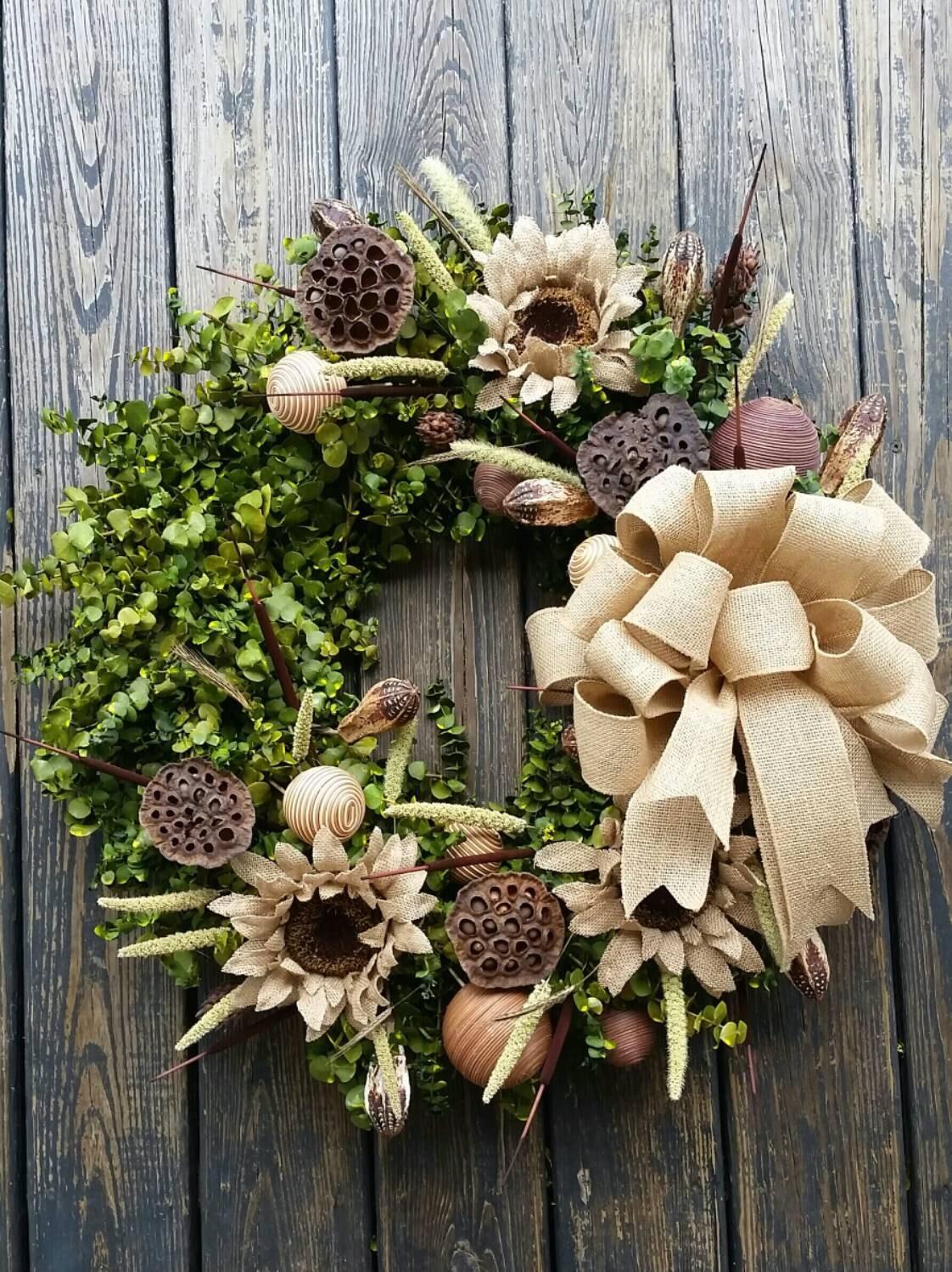 Wreath inch dried flower eucalyptus
