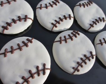 Gourmet Dog Treats - Medium Baseballs Decorated Dog Cookies