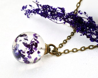 flower necklace - nature jewelry - purple necklace - resin orb - resin jewelry - real flower jewelry  bridesmaid gift - maid of honor