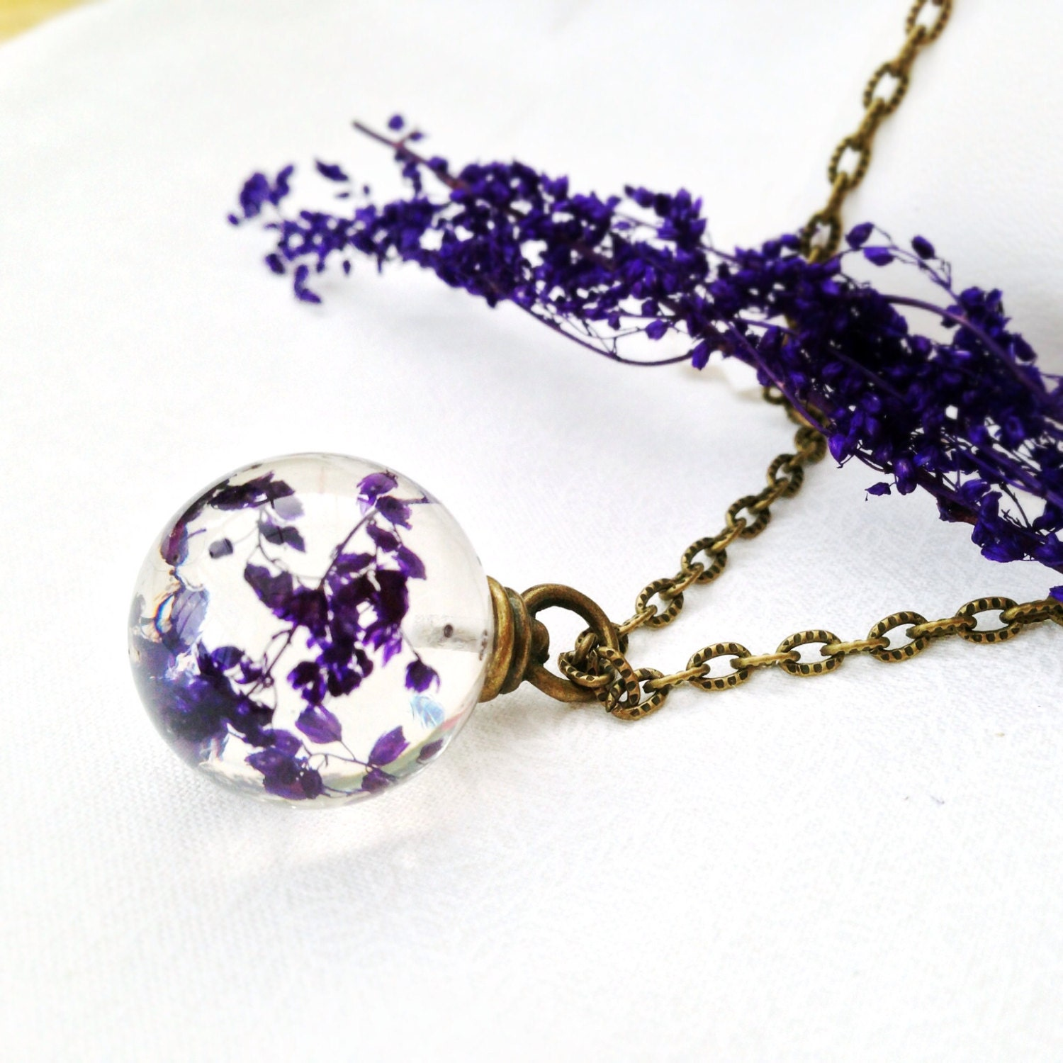 flower necklace nature jewelry purple necklace resin orb