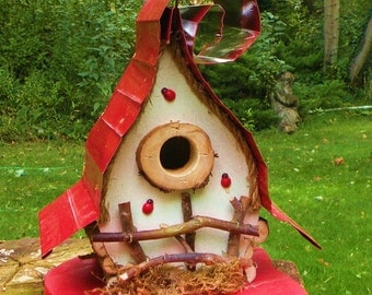 bird house, Birdhouse, custom birdhouse, Whimsical Birdhouse with curly metal roof in color options  in color options, garden art, gift