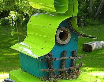 bird house, Custom birdhouse in color options, whimsical, curled galvanized metal roof, garden art, gift