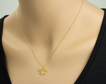 24 Gold Plated  Lotus Necklace,  Gold Necklace, Gold plated Lotus, Yoga Necklace, Yoga Jewelry