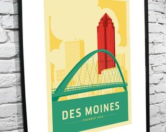 """Des Moines, Iowa Skyline 8""""x10"""" Poster"""
