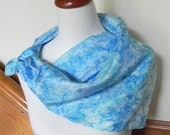 "Large square hand dyed silk scarf in shades of blue, 29"" square, # 356, ready to ship"