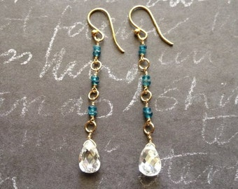 Blue Apatite Gold Filled Earrings