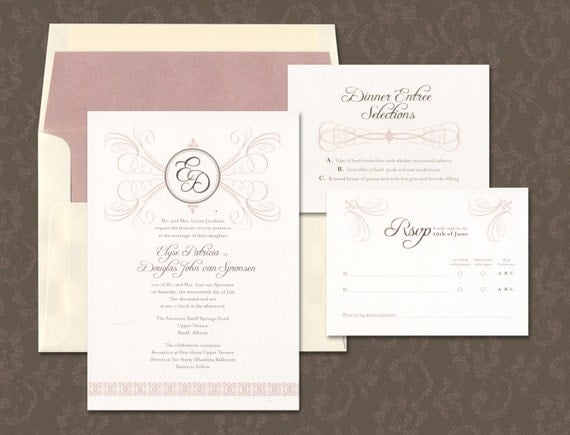 Unique Wedding Gifts Edmonton : Traditioinal Wedding Invitation, Elegant Wedding Invitation, Monogram ...