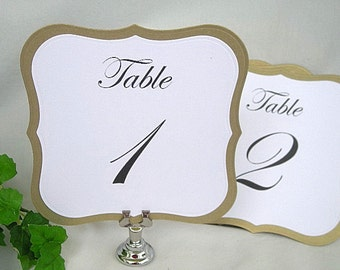 Table Cards Metallic Gold n White Linen Wedding Table Number Cards Wedding Table Signs n Table Card Holders Table Signs Custom Any Color