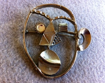 Picasso Style 1960's Brooch, Silver Colored, Large Statement Piece made by Avon,