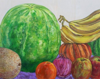 "Original Acrylic Painting on Canvas, Still Life, Abstract Art ""Summer Fruit"""