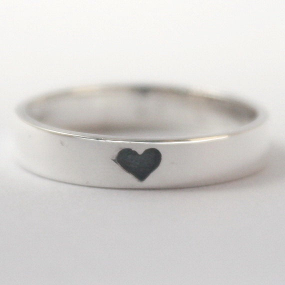 Silver Ring With Heart Imprint