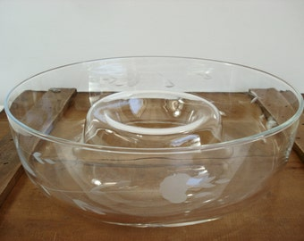 Vintage Princess House Crystal Glass Etched Heritage Pattern Chip and Dip Bowl