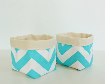 Chevron Fabric Basket Organizers in Turquoise Blue and White Zig Zag - Set of 2 Small Bins - Gift Baskets