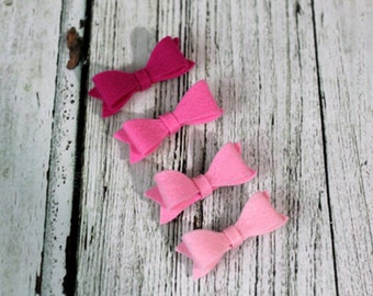 Pink Hair Bow - Pink Felt Hair Bow Set - Hot Pink Hair Clips