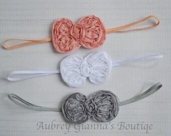 Newborn headband Set of 3, baby headbands, toddler headband, baby hair bow, Grey bow, newborn photo prop, baby girl accessories