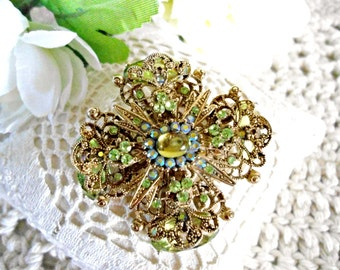 Vintage Peridot Aurora Borealis Filigree Brooch -  Green and Gold Tone Statement Brooch Signed CN