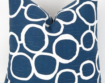 Navy Circles Pillow Cover - 28x28 - Freehand Blue Premier Prints - cushion throw couch euro sham decorative dots modern organic mod