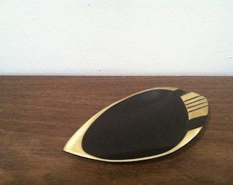 Vintage Modernist Solid Brass and Black Ashtray