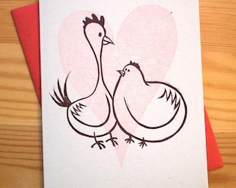 Chickens in Love Linocut Card - Hogwash Press Letterpress Linocut