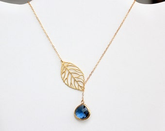 Leaf Necklace with Navy Drop in Gold - Gold Filled Chain - Fall Jewelry, Lariat Necklace, Navy Bridesmaid, Sapphire September Birthstone