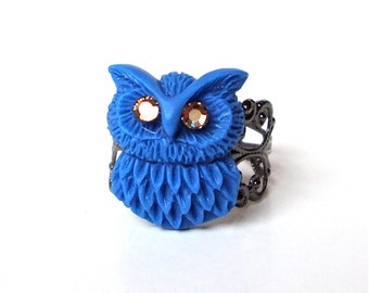 Owl Jewelry,  Blue Owl Ring, Small Owl Ring, Gunmetal Ring, Adjustable Filigree Ring, Novelty Ring, Cocktail Ring, Sweet Lolita Jewelry
