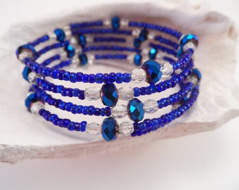Iridescent Blue and Clear Memory Wire Bracelet