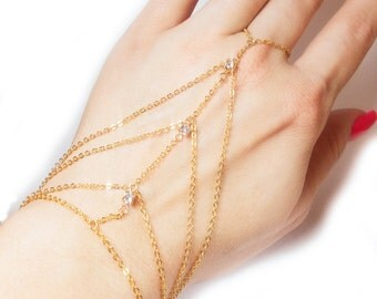 MultiStrand Gold Hand Chain with Swarovski Accents - Gold Slave Bracelet - 3 Stone Slave bracelet - Hand Harness - MultiStrand