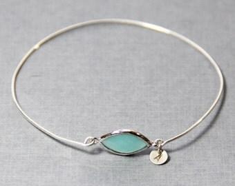 Personalized Turquoise Pop Sterling Silver Stacking Bangle Bracelet- Initial Bracelet - Gemstone Bracelet- Mint Bracelet