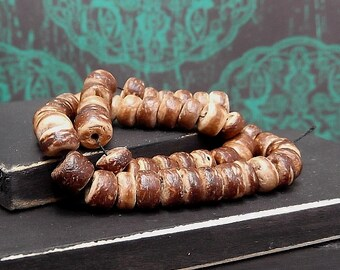 Natural Tiger Round Coco Shell Bead - Tribal Boho Supplies - Multi Strand Bead - 4-5mm Round Coco Shell - Pkg. 50