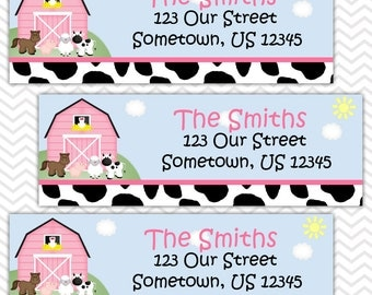 Barn Yard Farm Animals Pink - Personalized Address labels, Stickers