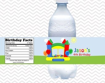 Bounce House Primary Boy - Personalized Water bottle labels - Set of 5 Waterproof labels