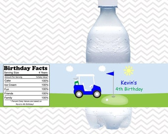 Golf Cart Blue - Personalized Water bottle labels - Set of 5 Waterproof labels