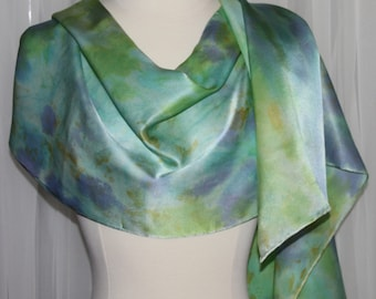 """Blue Lime Green Purple Gold Abstract Hand Dyed OOAK Silk Satin Scarf  14""""x 72"""""""