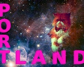 Portland Cat Bow Tie Postcard - George in Space