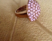 Vintage 1970's Pink Lucite Oval Dome Cluster Ring/ Ladies Size 7 Ring