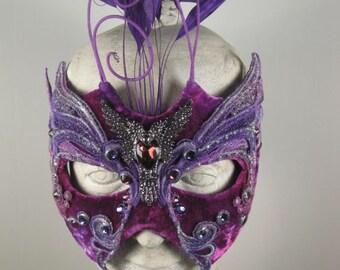 Purple and Silver Falcon Masquerade Mask//masquerade ball mask//halloween masquerade mask//mardi gras masquerade mask//carnival masquerade
