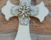 Vintage Shabby Jeweled Rhinestone Brooch Jewelry Wall Cross Bling White Sparkly