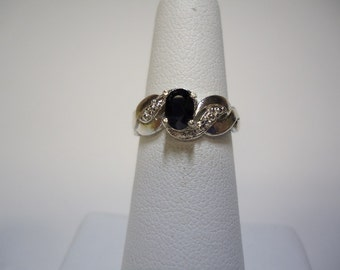 Oval Cut Black Sapphire Ring in Sterling Silver  #1134