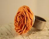Orange Flower Ring- Adjustable Pumpkin Orange Rose