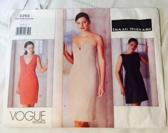 Vogue Isaac Mizrahi Dress Pattern, Designer Dress Pattern, Vogue 2293, Uncut, Size 6, 8, 10