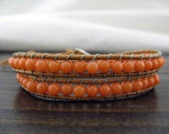 Hot Fashion Orange  Jade Gemstone Simulated Leather Wrap Bracelet
