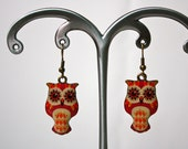 Autumn Owl Resin and Brass Earrings - YogiYoAccessories