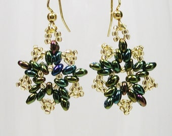 Seed Bead Star Earrings, Green and Gold Beaded Earrings, Star Earrings