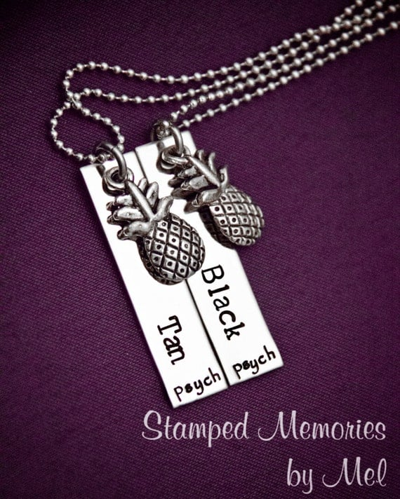 "Psych Fan ""Black and Tan"" Necklace Set - Hand Stamped Stainless Steel with Pineapple Charms - Shawn and Gus Quotes - Best Friends"