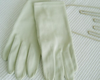 Ladies Pale Green Gloves Size 7 - Soft Pale Green Woman's Nylon Gloves -Size 7 Ladies Wrist Length Gloves -Size 7 Crescendo Gloves