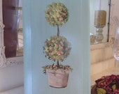 Rosebud Topiary Cottage Chic   Picture Wall Hanger with Pink Rosebud knobs