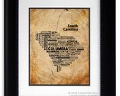 Original Housewarming Gift State print of South Carolina Map Father's Day Gift for him Unique Vintage Style Typography Poster Gift for him