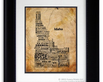 Christmas Gift for Him Gift for Men IDAHO State Wisconsin Map Cities & Towns - Unique Vintage Style Typography Poster, Birthday gift for him