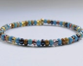 Beaded Multicolored Turquoise Men's Bracelet // Men's Jewelry