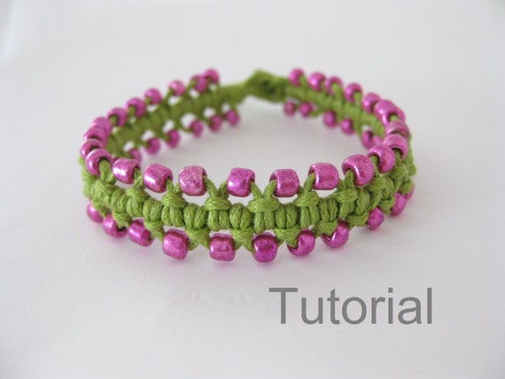 Beaded bracelet pattern macrame tutorial pdf by Knotonlyknots